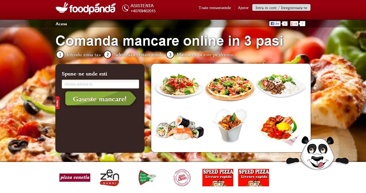 Poza site Foodpanda Romania