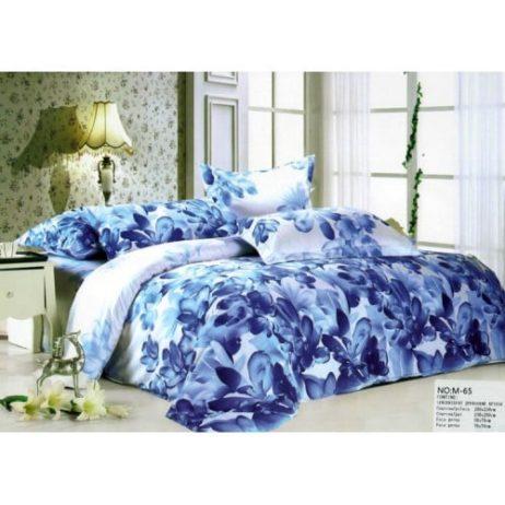 Lenjerie de pat cu imprimeu floral albastra