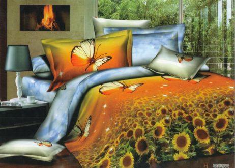 Lenjerie de pat din bumbac satinat cu floarea soarelui si fluturi - 3D